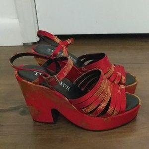 Vintage 90s Red Platform Sandals